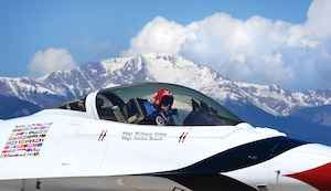 Capt. Nicholas Eberling, U.S. Air Force Thunderbird's lead solo pilot, lands at Peterson Air Force Base, Colo., on May 30, 2016. The U.S. Air Force Air Demonstration Squadron, the Thunderbirds, performs precision aerial maneuvers demonstrating the capabilities of Air Force high performance aircraft to people throughout the world. (U.S. Air Force photo by Airman 1st Class Dennis Hoffman)