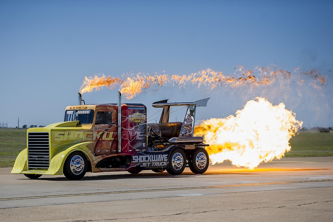 The Shockwave Jet Truck speeds down the flight line taxi way during the Cannon Air Show May 28, 2016, at Cannon Air Force Base, N.M. The 2016 Cannon Air Show highlights the unique capabilities and qualities of Cannon's Air Commandos and also celebrates the long-standing relationship between the 27th Special Operations Wing and the High Plains community. (U.S. Air Force photo/Staff Sgt. Eboni Reams)