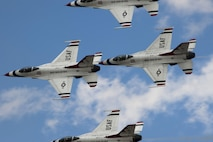 The U.S. Air Force Thunderbirds perform an aerial demonstration during the Cannon Air Show, May 28, 2016, at Cannon Air Force Base, N.M. The 2016 Cannon Air Show highlights the unique capabilities and qualities of Cannon's Air commandos and also celebrates the long-standing relationship between the 27th Special Operations Wing and the High Plains community. (U.S. Air Force photo/Tech. Sgt. Manuel Martinez)