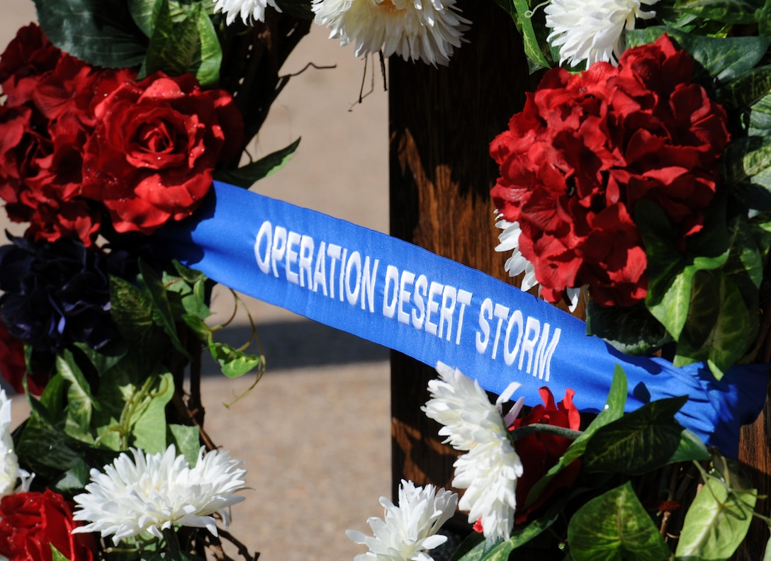 A wreath sits on display during the 81st Training Wing Memorial Day Retreat Ceremony May 26, 2016, Keesler Air Force Base, Miss. The ceremony was held in memory of Operation Desert Storm. (U.S. Air Force photo by Kemberly Groue)