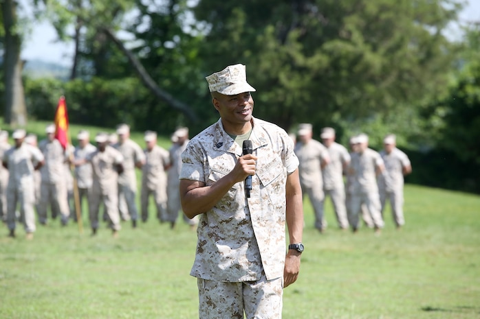 Sgt. Maj. Fletcher Pearson, former senior enlisted leader at Marine Corps Systems Command, gives remarks during a Relief and Appointment Ceremony June 1 aboard Marine Corps Base Quantico, Virginia. Pearson, who retired after 30 years in the Marine Corps, relinquished responsibility to Sgt. Maj. Gary Smith. (U.S. Marine Corps photo by Monique Randolph)