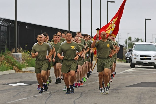 CAMP PENDLETON, Calif. -- More than 30 Marines and police officers from the Security and Emergency Service Battalion and the Camp Pendleton Police Department participate in the 2016 Law Enforcement Torch Run in support of the Special Olympics, June 1. Col. Reginald L. Hairston, commanding officer of SES Bn., Marine Corps Base Camp Pendleton, Marine Corps Installations – West, received the Special Olympics torch from runners of the Oceanside Police Department at the Camp Pendleton Main Gate. SES Bn. Marines then relayed the torch in groups and ran it 17 miles to the Orange County Sheriff's Police Department in San Clemente.