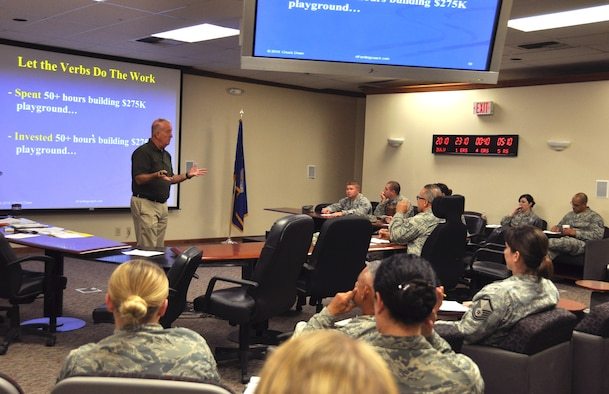 Retired Lieutenant Colonel, Chuck Diven, speaks to a group of 940th Air Refueling Wing members about the importance of writing better bullets for stronger performance reports at a seminar during the April unit training assembly, April 3, 2016 at Beale Air Force Base, Calif.  Bullets typically consist of an action, impact, and result and are used to illustrate a military member's accomplishments. (U.S. Air Force photo by Tech. Sgt. Heather Skinkle/released)