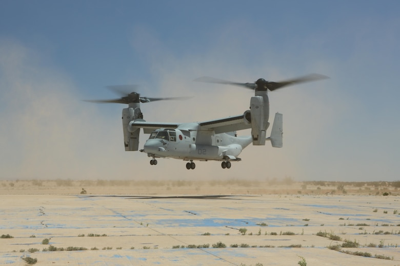 """A Marine with Marine Medium Tiltrotor Squadron (VMM) 364 """"Purple Foxes"""" checks the rear of an MV-22B Osprey during section confined area landings at Holtville Airfield, Calif., May 20. Members of the squadron conducted the training to familiarize both pilots and crew chiefs with landing in a small area near other aircraft (U.S. Marine Corps photo by Pfc. Liah Kitchen/Released)"""