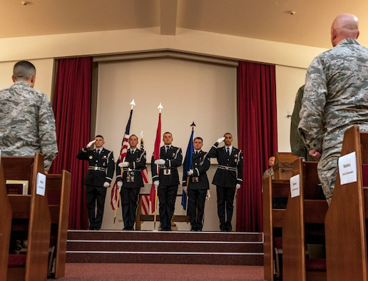 Members of the base honor guard present the colors during the playing of the U.S. and Turkish national anthems at a Memorial Day remembrance ceremony held at the base chapel May 27, 2016, at Incirlik Air Base, Turkey. Memorial Day was originally founded to honor fallen soldiers from the Civil War, now Memorial Day honors all Americans who died in military service. (U.S. Air Force photo by Staff Sgt. Jack Sanders/Released)