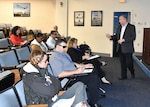 DLA Forward Presence Human Resource Manager Rocky Weaver gives a resume building brief during a workshop May 23, 2016 for wounded warriors, currently undergoing treatment at the Hunter Holmes McGuire VA Medical Center in Richmond, Virginia, helping them navigate civilian job application websites and prepare professional resumes.
