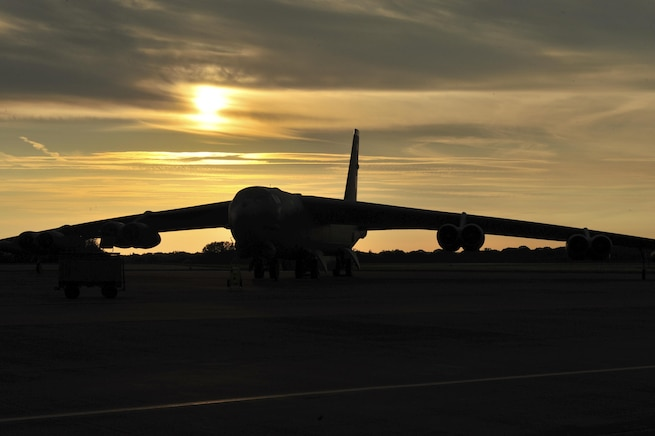 A B-52H Stratofortress forward deployed to Royal Air Force Fairford, England, awaits a training mission in support of either, BALTOPS or Saber Strike. The focus of Saber Strike is to promote interoperability with regional partners and improve joint operational capabilities in a variety of missions. The goal of BALTOPS is to promote mutual understanding, confidence, cooperation and interoperability among forces and personnel of participating nations. (U.S. Air Force photo/Senior Airman Malia Jenkins)