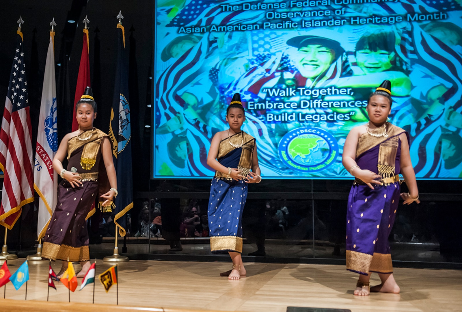 """The Lao Volunteer Culture Dance Group performed the """"Sane Sal Lao"""" dance at Defense Supply Center Columbus' annual Asian American Pacific Islander (AAPI) Month celebration May 25."""