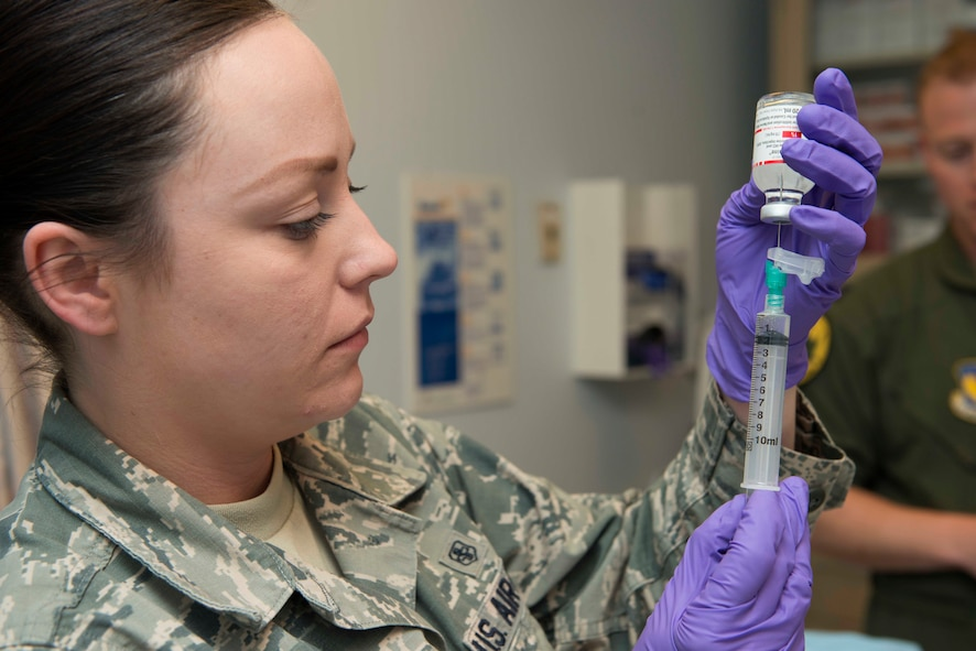 U.S. Air Force Staff Sgt. Kai Velazquez Espinosa, 39th Medical Operations Squadron flight and operational medical technician, prepares lidocaine for a medical procedure May 19, 2016, at Incirlik Air Base, Turkey. Lidocaine is an anesthetic used to numb a specific area and is usually applied prior to surgical procedures. (U.S. Air Force photo by Senior Airman John Nieves Camacho/Released)