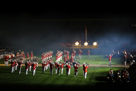 """The Commandant's Own,"" The United States Marine Drum & Bugle Corps performs 'Ode to Joy' during the Friday Evening Parade at Marine Barracks Washington, DC on Friday, May 27th. 'Ode to Joy' is performed with a saluting battery from the Marine Corps Body Bearer Section and concludes with a finale' of cannon fire. (Official Marine Corps Photo/ Released)"