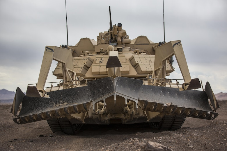 An Assault Breacher Vehicle with 2nd Combat Engineer Battalion, 2nd Marine Division, idles in the Black Top Training Area aboard Marine Corps Air Ground Combat Center Twentynine Palms, Calif., May 17, 2016. Various units from 2nd Marine Division participated in Integrated Training Exercise 3-16 in preparation for their deployment with Special Purpose Marine Air Ground Task Force-Crisis Response-Africa. (Official Marine Corps photo by Lance Cpl. Levi Schultz/Released)