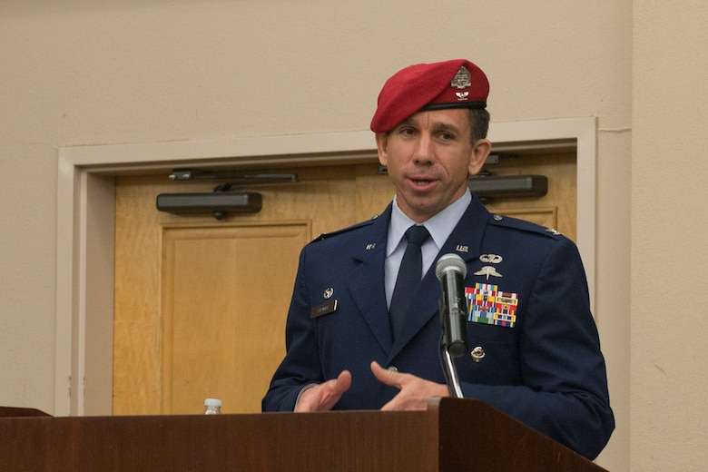 Col. Ronald Stenger, the inaugural commander for the Battlefield Airman Training Group, addresses the audience during the BA TG activation ceremony June 2, 2016, at Joint Base San Antonio-Lackland, Texas. The BA TG encompasses five subordinate squadrons, whose members will train the Air Force's conventional and special operations ground forces, including combat controllers, pararescuemen, special operations weathermen and tactical air control party Airmen. (U.S. Air Force photo by Senior Airman Krystal Wright)