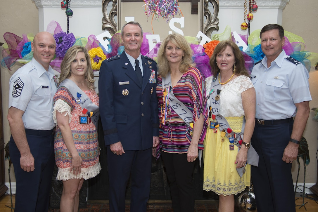 From left: From a 2016 Fiesta event with Lynne and Maj. Gen. Leonard Patrick, at far right of photo, are Chief Master Sgt. David Staton, AETC command chief and his wife, Kimberly, Lt. Gen. Darryl Roberson, AETC commander, and his wife, Cheryl. (U.S. Air Force photo by Senior Airman Stormy Archer)