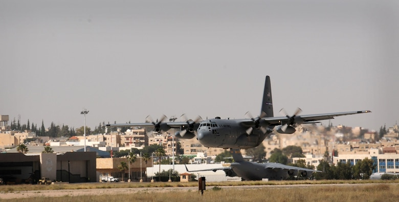 A 94th Airlift Wing C-130 takes off  from King Abdullah Air Base, Jordan, in support of Eager Lion 2016, May 22, 2016. This year Eager Lion was a bilateral partnership including the U.S. and Jordanian military forces held May 15-24.  (U.S. Air Force photo/Staff Sgt. Alan Abernethy)