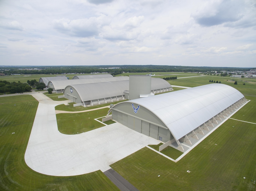 DAYTON, Ohio (06/2016) -- Aerial view of the National Museum of the U.S. Air Force. The museum collects, researches, conserves, interprets and presents the Air Force's history, heritage and traditions, as well as today's mission to fly, fight and win...in Air, Space and Cyberspace to a global audience through engaging exhibits, educational outreach, special programs, and the stewardship of the national historic collection. (U.S. Air Force photo by Jim Copes)