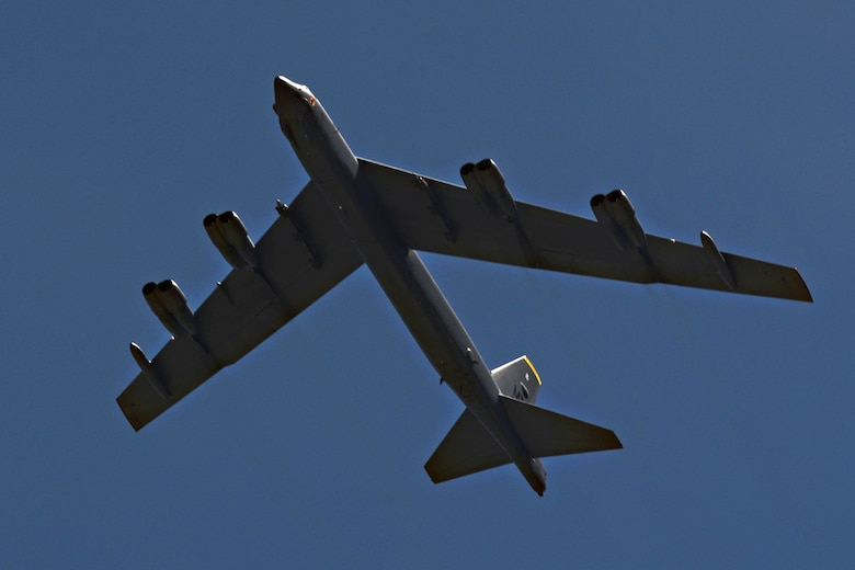 A B-52 Stratofortress from Minot Air Force Base, ND, arrives June 2, 2016, at Andersen AFB, Guam. The aircraft is deployed in support of U.S. Pacific Command's Continuous Bomber Presence operations. This forward deployed presence demonstrates continuing U.S. commitment to stability and security in the Indo-Asia-Pacific region. The U.S. military has maintained a deployed strategic bomber presence in the Pacific since March 2004, which has contributed significantly to regional security and stability. (U.S. Air Force photo by Airman 1st Class Alexa Ann Henderson/Released)