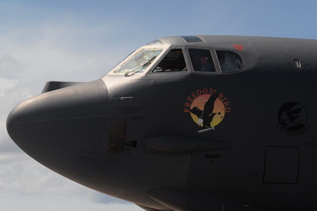 A B-52 Stratofortress and crew arrives June 2, 2016, at Andersen Air Force Base, Guam. The aircraft is deployed in support of U.S. Pacific Command's Continuous Bomber Presence operations. Deployments such as this provide opportunities to advance and strengthen alliances as well as strengthen long-standing military-to-military partnerships. (U.S. Air Force photo by Airman 1st Class Alexa Ann Henderson/Released)
