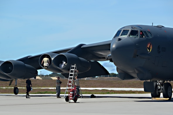 Members of the 36th Expeditionary Aircraft Maintenance Squadron conduct a post-flight inspection on a B-52 Stratofortress after its arrival June 2, 2016, at Andersen Air Force Base, Guam. The aircraft is deployed in support of U.S. Pacific Command's Continuous Bomber Presence operations. These aircraft and the men and women who fly and support them provide a significant capability that enables U.S. readiness and commitment to deterrence, provides assurances to allies, and strengthens regional security and stability in the Indo-Asia-Pacific region. (U.S. Air Force photo by Airman 1st Class Alexa Ann Henderson/Released)