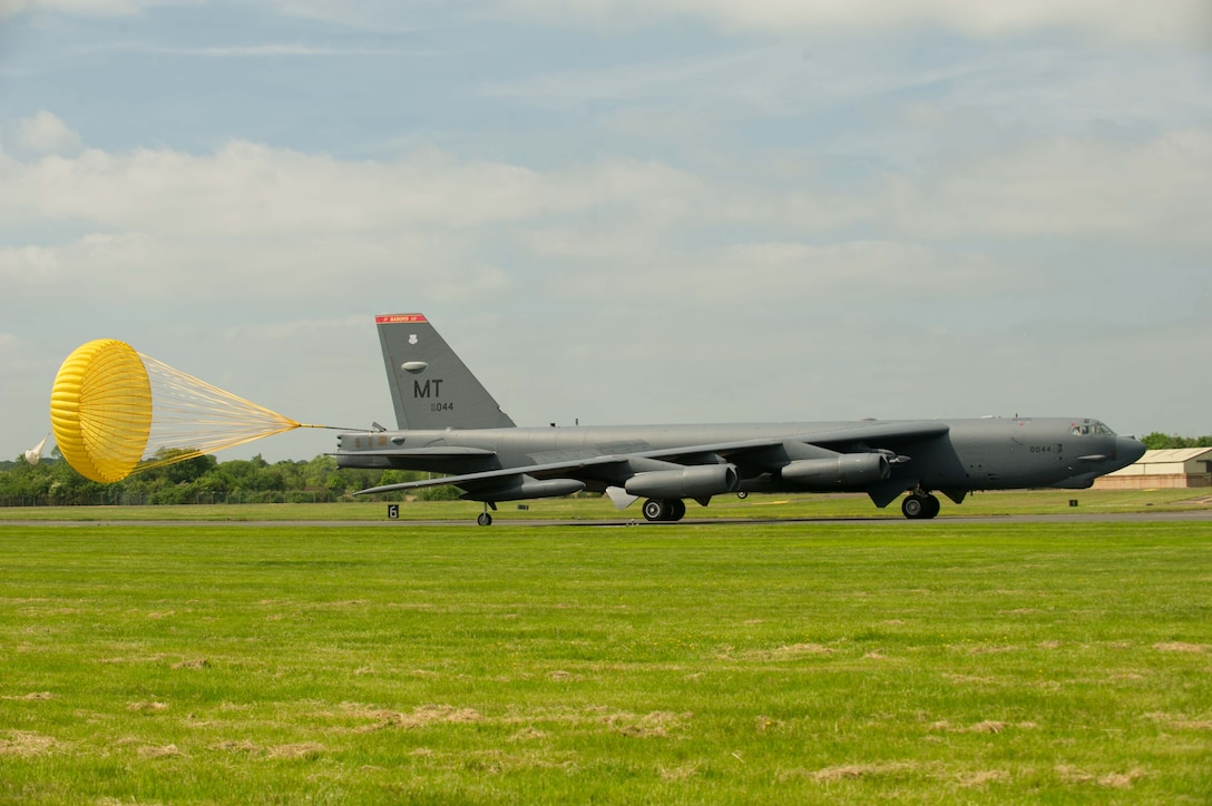 A B-52H Stratofortress from Minot Air Force Base, N.D., taxis down the runway at Royal Air Force Fairford, United Kingdom, in support of exercises Saber Strike 16 and BALTOPS 16, June 2, 2016. The B-52 is capable of carrying up to approximately 70,000 lbs. of munitions. These include gravity bombs, cluster bombs, precision guided missiles and joint direct attack munitions.  (U.S. Air Force photo/Senior Airman Sahara L. Fales)