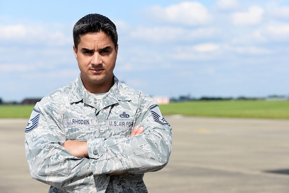 U.S. Air Force Master Sgt. Nathan Rhoden, 352nd Special Operations Aircraft Maintenance Squadron superintendent, poses for a photograph May 27, 2016, on RAF Mildenhall, England. Rhoden responded to a Microlight aircraft crash that he witnessed while performing maintenance on his private aircraft. (U.S. Air Force photo by Airman 1st Class Tenley Long/Released)