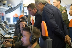 Defense Secretary Ash Carter and Singaporean Defense Minister Ng Eng Hen are briefed on the capabilities of a P-8 during a flight over Singapore and the Strait of Malacca, June 3, 2016. Carter is in Singapore attending the Shangri-La Dialogue. DoD photo by Navy Petty Officer 1st Class Tim D. Godbee