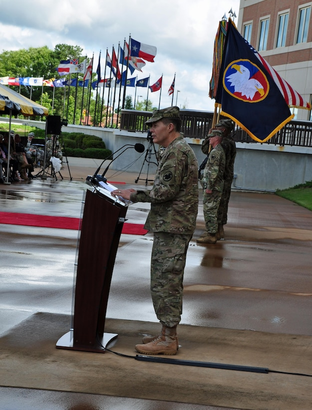 The U.S. Army Reserve bid farewell to its seventh commanding general, Lt. Gen. Jeffrey W. Talley, during a relinquishment of command ceremony held outside Marshall Hall at Fort Bragg, N.C. on Jun. 1. Talley and his wife Linda leave USARC after successfully leading it since June of 2012.