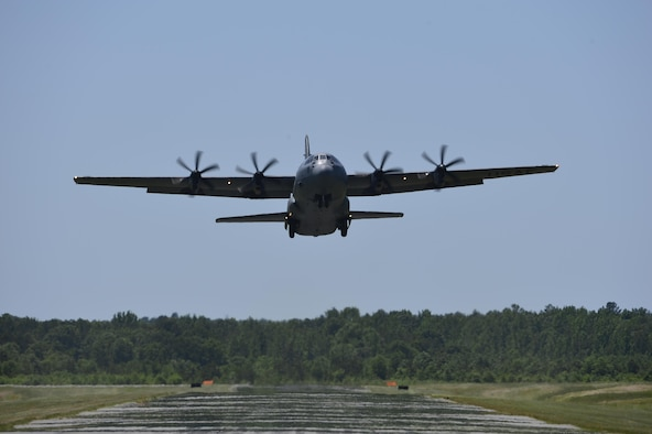 A C-130J Super Hercules assigned to the 19th Airlift Wing takes off from Camp Robinson, Ark., May 13, 2016. (U.S. Air Force photo/Staff Sgt. Jeremy McGuffin)