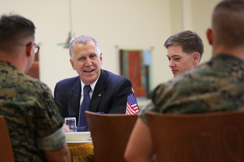 Sen. Thom Tillis speaks to Marines during a visit at Marine Corps Air Station Cherry Point, N.C., June 1, 2016. Tillis visited the air station to address the needs and priorities of the base, and assess the Marine Corps' presence in North Carolina. Tillis also toured Fleet Readiness Center East. Tillis is a North Carolina senator. (U.S. Marine Corps photo by Lance Cpl. Mackenzie Gibson/Released)