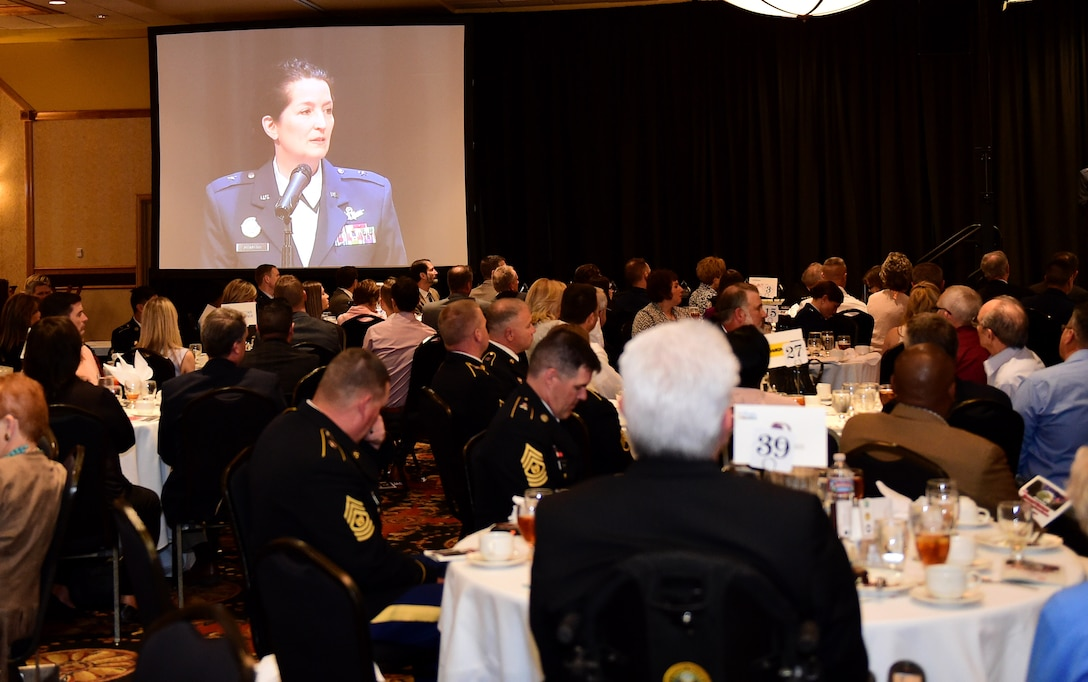 Brig. Gen. Nina Amagno, Director of Strategic Plans, Programs, Requirements and Analysis, Headquarters, Air Force Space Command, speaks May 13, 2016, during the Armed Forces Recognition Luncheon at the Doubletree Stapleton Hotel in Denver. The luncheon honored the outstanding Service members of Aurora, Denver, and Northern Colorado.. (U.S. Air Force photo by Airman 1st Class Gabrielle Spradling/Released)