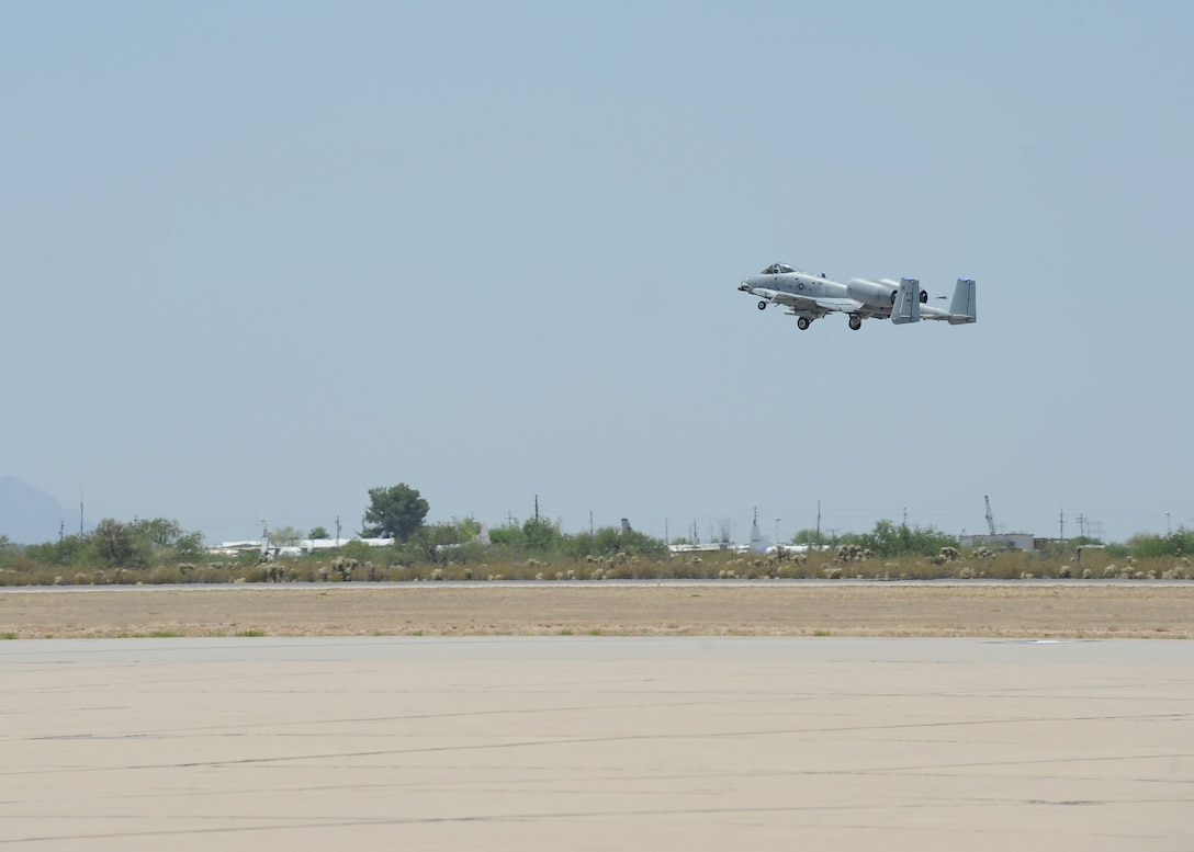 An A-10C Thunderbolt II from the 23rd Fighter Group, Moody Air Force Base, Ga., retracts its landing gear after taking off from Davis-Monthan Air Force Base, Ariz., June 2, 2016. D-M hosted the biennial competition which scores strafing accuracy, high-altitude dive-bombing, low-angle high-delivery, Maverick missile precision and team tactics. (U.S. Air Force photo by Airman 1st Class Ashley N. Steffen/Released)