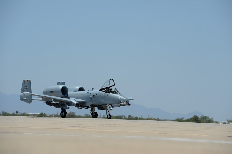 An A-10C Thunderbolt II from the 442nd Fighter Wing, Whiteman Air Force Base, Mo., lands at Davis-Monthan Air Force Base, Ariz., June 2, 2016. A-10s traveled to the Barry M. Goldwater Range to compete in the 2016 Hawgsmoke competition. (U.S. Air Force photo by Airman 1st Class Ashley N. Steffen/Released)