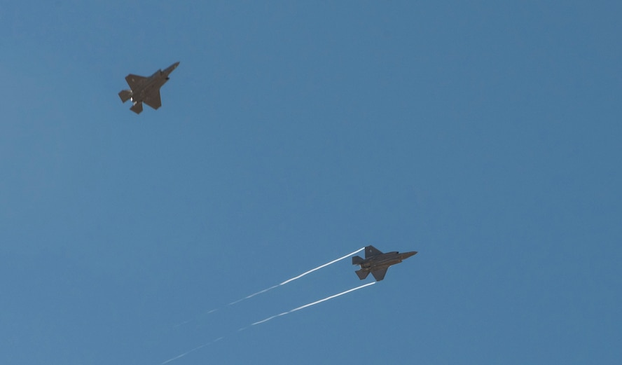An F-35A separates from formation to land at Mountain Home Air Force Base, Idaho, June 3, 2016. Mountain Home AFB's airspace allows Hill Air Force Base's active duty 388th Fighter Wing and reserve 419th Fighter Wing to fully test the aircraft in preparations for declaring initial operational capability later this year. (U.S. Air Force photo by Airman Alaysia Berry/Released)