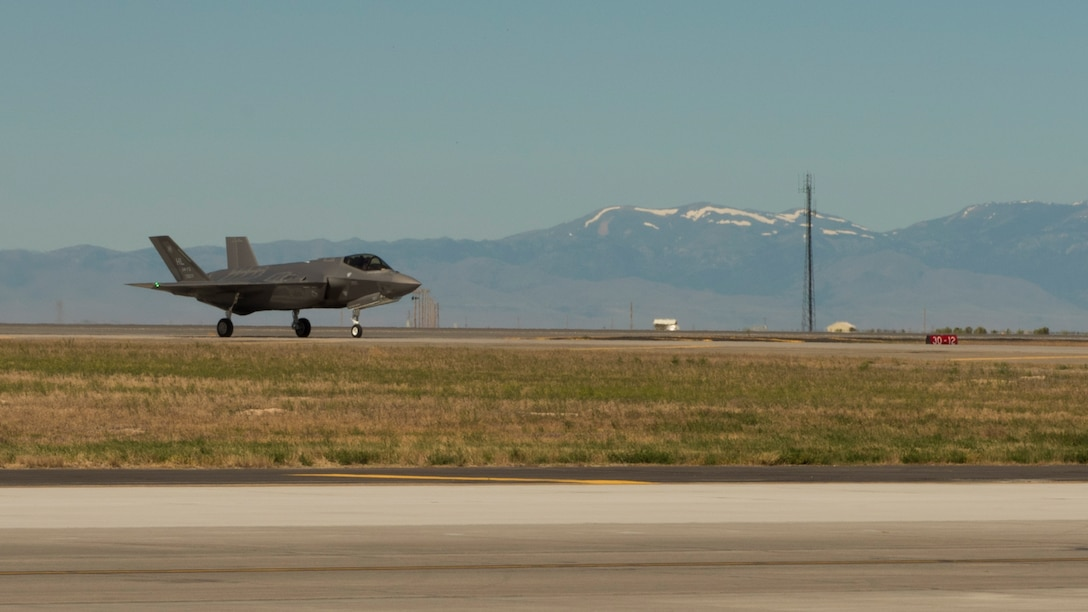 An F-35A lands on the runway at Mountain Home Air Force Base, Idaho, June 3, 2016. The mock deployment to Idaho marks the first out-of-state training mission for Hill Air Force Base's operational 5th generation aircraft. (U.S. Air Force Photo by Airman Alaysia Berry/RELEASED)