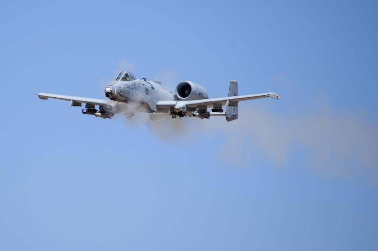 An A-10C Thunderbolt II assigned to the 47th Fighter Squadron performs a low-angle strafe during the 2016 Hawgsmoke competition at the Barry M. Goldwater Range, Ariz., June 2, 2016. Hawgsmoke is a biennial competition focused on tactics the A-10C can employ during combat operations. (U.S. Air Force photo by Airman 1st Class Mya M. Crosby/Released)