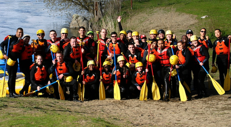 Fairchild Airmen pose together after a Base Chapel resilience trip for a group photo after having rafted the Spokane River April 16, 2016, Spokane Wash. The Chapel's resilience trips are open to all Airmen regardless of religious background. (Courtesy Photo)