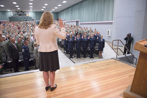 Secretary of the Air Force Deborah Lee James administers the oath of enlistment to Edwards Airmen during her visit to Edwards Tuesday and Wednesday.
