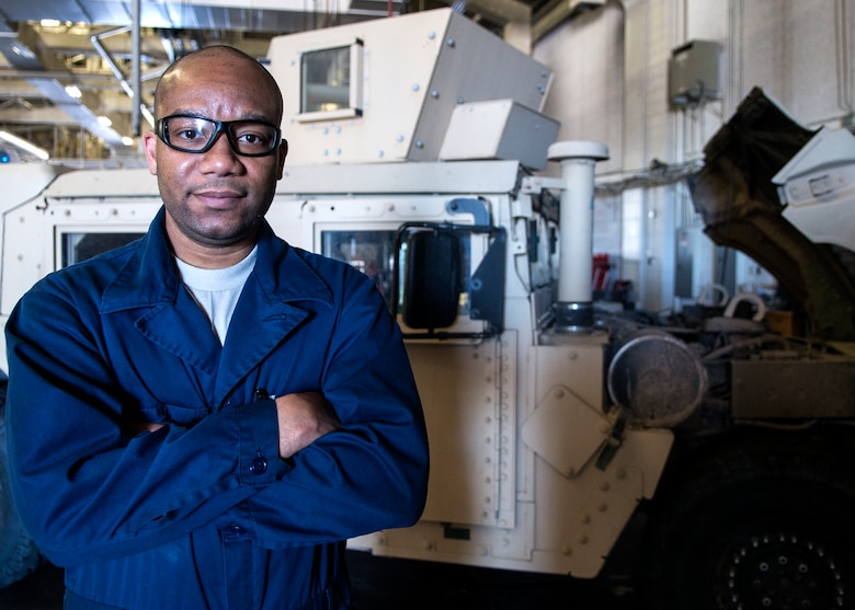 Tech. Sgt. Mortimer Jacobs, 90th Logistics Readiness Squadron Multi-Purpose Vehicle Maintenance Shop NCOIC, poses in a LRS building on F.E. Warren Air Force Base, Wyo., May 4, 2016.. He was recently named the 20th Air Force ICBM Logistics Readiness Technician of the Year Tech. (U.S. Air Force photo by Airman 1st Class Malcolm Mayfield)