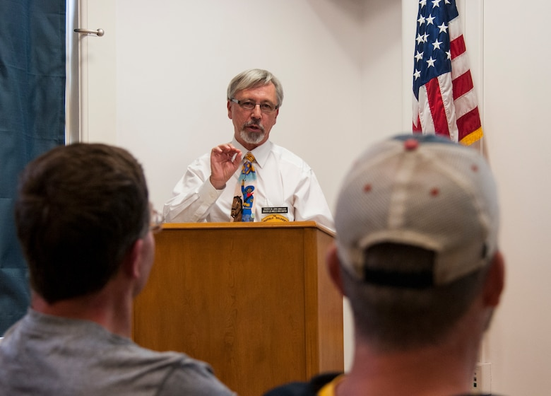 John Langellier, Ph.D., consulting historian, speaks about the history of the Buffalo Soldiers to a group of people in the Warren ICBM & Heritage Museum on F.E. Warren Air Force Base, Wyo., June 1, 2016. The presentation delved into lesser-known aspects of the soldier's history. (U.S. Air Force photo by Senior Airman Jason Wiese)