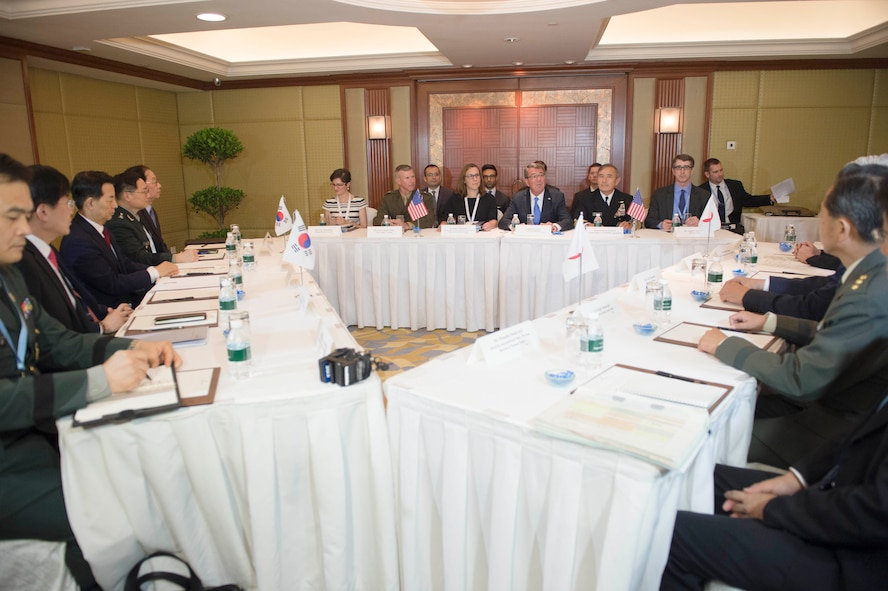 Defense Secretary Ash Carter holds a trilateral meeting with Japanese Defense Minister Gen Nakatani and Republic of Korea Defense Minister Han Min-koo in Singapore.