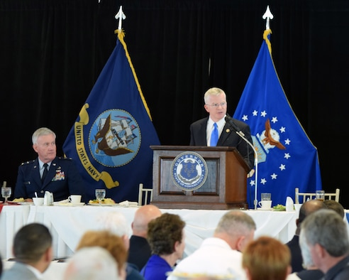 Sean Connolly, Commissioner of the Connecticut Department of Veterans Affairs, addresses a crowd of more than 900 guests at the 67th Connecticut Armed Forces Day luncheon at the Aqua Turf Club in Southington, Conn., May 20. Connolly thanked the Veterans in attendance and also highlighted the CT VA mission to enhance the lives of Connecticut's Veterans. (Photo by Staff Sgt. Benjamin Simon, JFHQ Public Affairs, CTARNG)