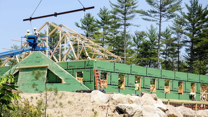 U.S. Airmen with the 139th Civil Engineer Squadron, Missouri Air National Guard, participate in Innovative Readiness Training (IRT), at William Hinds Boy Scout Camp in Raymond, Maine, on May 25, 2016. The IRT is part of a joint operation with the U.S. Marines, Navy, Air National Guard, and Air Force Reserve to help rebuild parts of the camp. (U.S. Air National Guard photo by Master Sgt. Shannon Bond/Released)