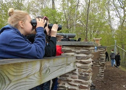 Fourth grade students from Blossburg Elementary School take turns looking at an Osprey nest at Tioga-Hammond and Cowanesque Lakes, May 24, 2016.  The Corps project was one of 186 federal sites selected to receive a 2015 field trip grant from the National Park Foundation (NPF), the official charity of America's national parks. The grant, part of NPF's Open OutDoors for Kids Program, supports the White House's Every Kid in a Park youth initiative, which provides  fourth-grade children and their families a pass granting free access to national parks, forests, and wildlife refuges.