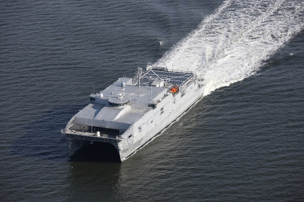 160525 (May 25, 2016) GULF OF MEXICO - The future USNS Carson City (EPF 7) successfully completed its builder's acceptance trials during an underway period in the Gulf of Mexico, May 25-26. Expeditionary Fast Transport class ships (EPFs) are versatile, non-combatant, transport ships that will be used for high-speed mobility and transportation of troops, military vehicles, and equipment in support of a wide variety of missions. (US Navy photo - released).