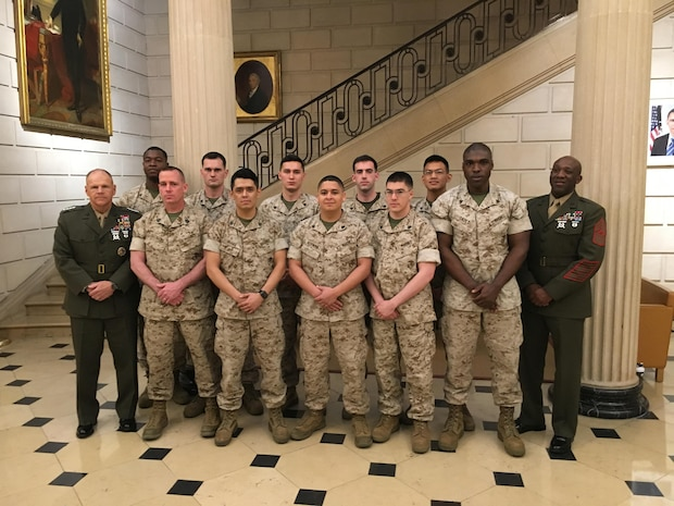 Detachment Paris with the Commandant of the Marine Corps and Sergeant Major of the Marine Corps