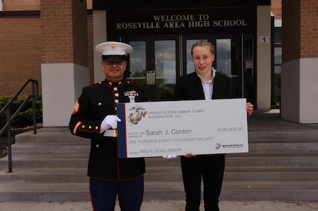 Sarah Conlon has been awarded a 4-year Naval ROTC scholarship to the University of Nebraska valued at up to $180,000 covering all tuition and fees, textbooks and an additional monthly stipend.  She was chosen by a board of Military Officers as one of the 48 selectees from a pool of more than 650 qualified applicants a crossed the upper Midwest for the scholarship.  During her next four years at Nebraska, Sarah will train to become an officer in the United States Marine Corps while earning a bachelor's degree.  Upon graduation, she will be commissioned as a 2nd Lieutenant in the Marine Corps and serve her country for at least four years.