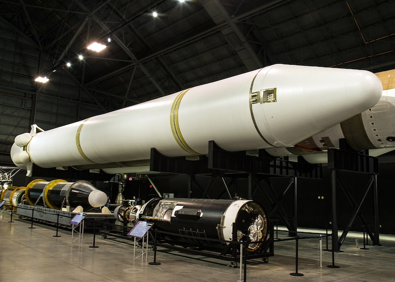 DAYTON, Ohio - The Titan IVB solid rocket motor upgrades(SRMU's) on display in the Space Gallery at the National Museum of the U.S. Air Force. (U.S. Air Force photo by Ken LaRock)
