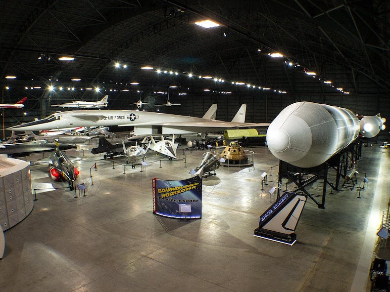 DAYTON, Ohio - An overhead view of the Research and Development Gallery, and the Space Gallery in the fourth building at the National Museum of the U.S. Air Force. (U.S. Air Force photo by Ken LaRock)