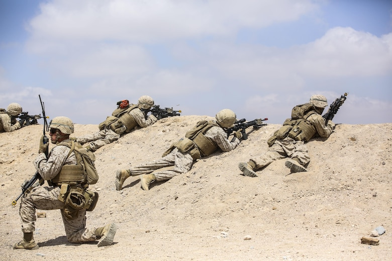 Marines with 1st Battalion, 2nd Marine Regiment, 2nd Marine Division prepare to launch an attack during the Eager Lion 16 final exercise in Al Quweyrah, Jordan, May 24, 2016. Eager Lion is a recurring exercise between partner nations designed to strengthen military-to-military relationships, increase interoperability, and enhance regional security and stability. (U.S. Marine Corps photo by Cpl. Paul S. Martinez/Released)