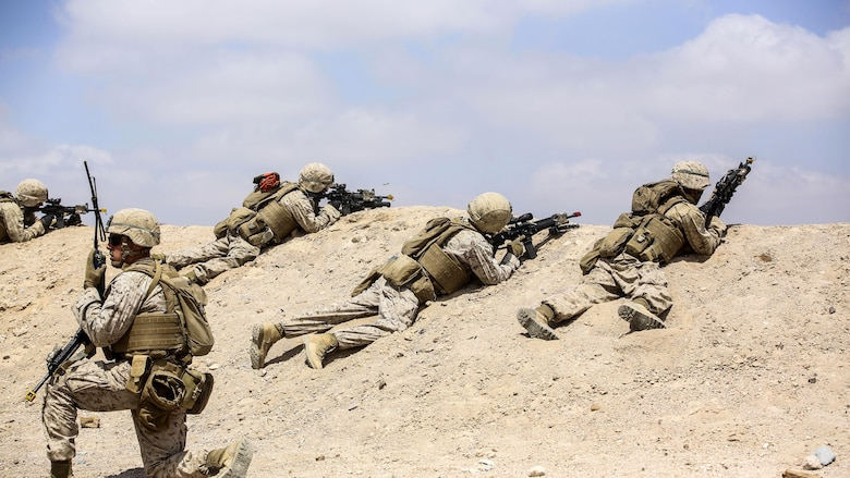 Marines with 1st Battalion, 2nd Marine Regiment, 2nd Marine Division prepare to launch an attack during the Eager Lion 16 final exercise in Al Quweyrah, Jordan, May 24, 2016. Eager Lion is a recurring exercise between partner nations designed to strengthen military-to-military relationships, increase interoperability, and enhance regional security and stability.