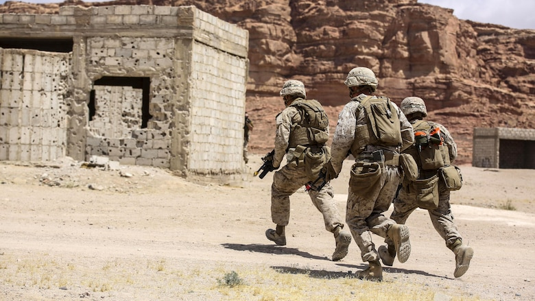 Marines with 1st Battalion, 2nd Marine Regiment, 2nd Marine Division advance down range during the Eager Lion 16 final exercise in Al Quweyrah, Jordan, May 24, 2016. Eager Lion is a recurring exercise between partner nations designed to strengthen military-to-military relationships, increase interoperability, and enhance regional security and stability.